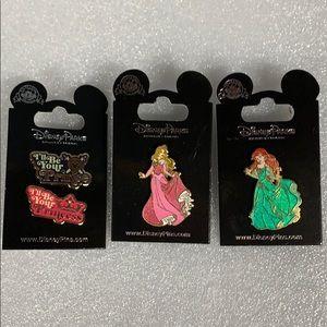 Disney lot of 3 Princess Prince Pins New